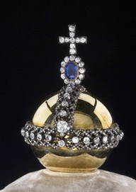 Imperial Orb, in Red Gold, 1784 with Diamond Surround and Indian Light-Blue Diamonds of 47 Carats